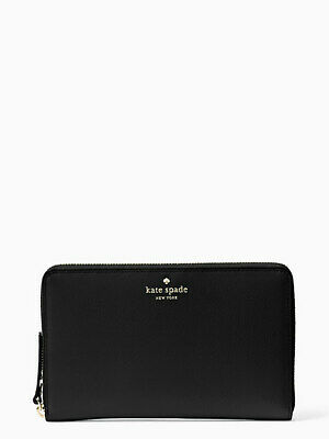 NEW NWT Kate Spade Grand Street Black Leather XL Travel Wallet Clutch