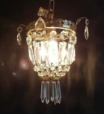 Vintage Gilt Brass & Crystal Glass Chandelier Ceiling Light