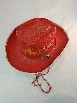 1950s Cowboy Hat Kids Toy Red Painted Stencil Vintage Western Played Condition