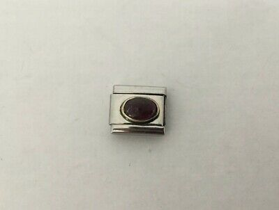 Nomination Genuine Classic Bracelet Charm Used Gold Purple/Red Stone Scratched