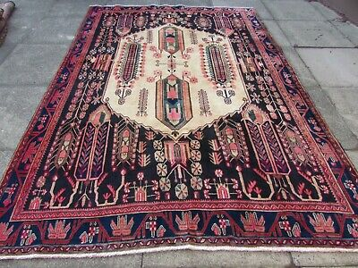 Vintage Hand Made Traditional Rug Oriental Wool Blue Pink Large Carpet 262x180cm