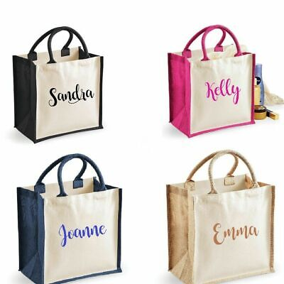 new Personalised Classi Jute Tote Canvas Holiday Shopping Gift Bag PERFECT GIFT