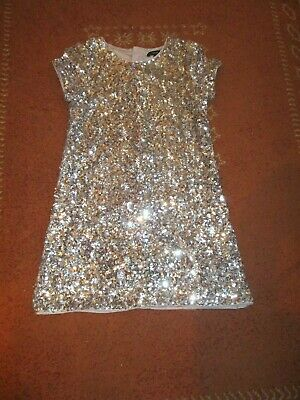 Marks&Spencer Autograph Girls Age 9-10 Silver Sequin Dress Party/Special Occasio