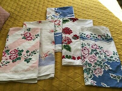 Nice lot of 5 vintage tablecloths for cutter/use