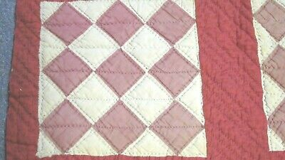 Antique hand-stitched red & white diamond quilt piece  -for crafts-cutter