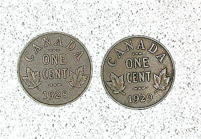Canada One Cent  1928, 1929