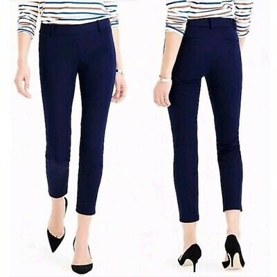 J. Crew Minnie Stretch Twill Pants Women's Size 4 Navy Blue Skinny Ankle Crop