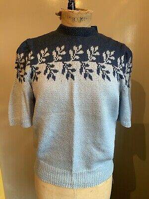 Hand Knit Two Tone Blue Jumper To Vintage 1940s Pattern