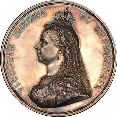 Great Britain 1887 Victoria Golden Jubilee High Relief Silver Medal PCGS SP-62