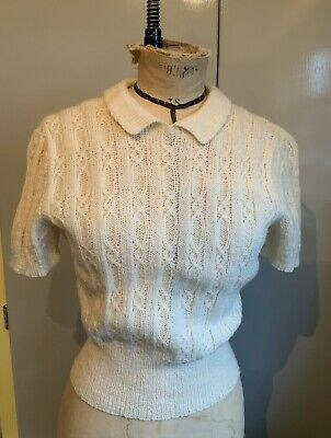 Hand Knit Cream lacy Jumper To Vintage 1940s Pattern
