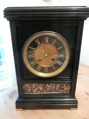 A Fine French Slate & Bronze Mantel Clock by Samuel Marti c1890