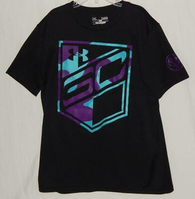 UNDER ARMOUR Youth Girls Black Polyester Graphic Short Sleeve T-Shirt Size Large