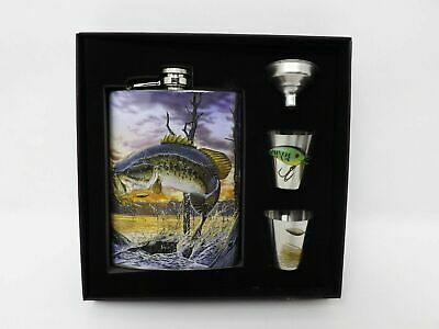 Flask and Shot Glasses Set -Funnel- Bass-Gift Pack-Fisherman-Stainless Steel-New