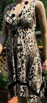 CAMEO ROSE 💗 beautiful size 8 animal leopard print brown mix dress stretch NEW.