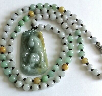 *Gorgeous 100% Natural Icy-Green Jade Jadeite Carved Tiger Pendant & Necklace