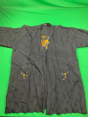 Vintage Golden Bee Hand Embroidered All Rayon Kimono Made In China Dragon Euc