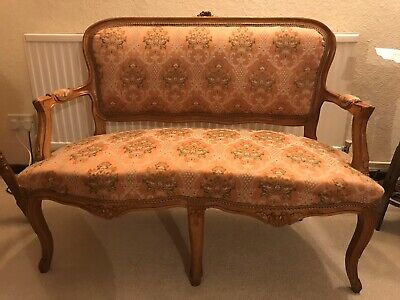 Antique/Vintage French Sofa Suite With Two Chairs Immaculate Applewood Frame