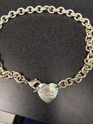 """Tiffany & Co Heart Tag Sterling Silver .925 Necklace 14"""" Choker 49.7 grams"""