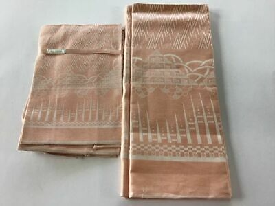 Vintage Irish Linen Peach/Cream Pattern Tablecloth & Six Napkins ( New )