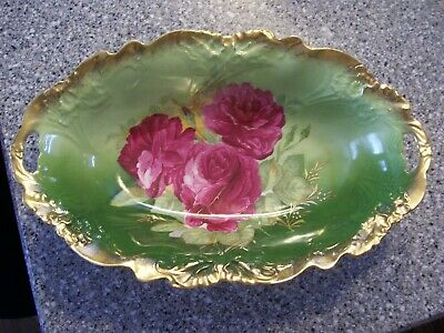 """Antique Hand painted bowl Bavaria Rose marked L in cursive 13"""" long Handled"""