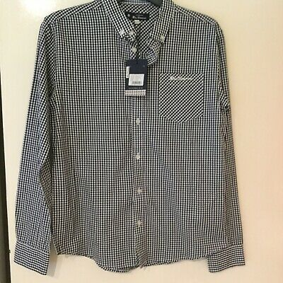 Bnwt Boys Ben Sherman Black&white Check Long Sleeved Shirt Aged 12/13 Years