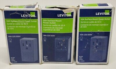 Lot of 3 Leviton Electrical Receptacle 50 amps  125/250 volts Black
