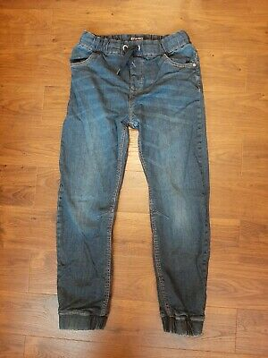 NEXT Boys dark blue elastic waist pull on lined trousers joggers 11yrs excellent