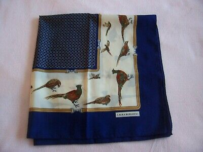 Laura Borghese Pheasant Navy  Square Scarf Worn Twice