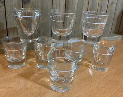 Vintage Barware Lot Of 8 Shot Glasses w/White Line Heavy Duty Mid-Century Retro