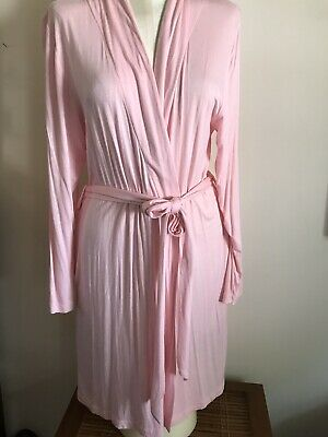 Woman's Pale Pink Rayon Jones S/M Mid Length Robe Pockets Attached Belt NICE!