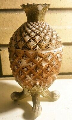 Antique Milk Glass painted Pineapple Compote. PRICE DROPPED!!!