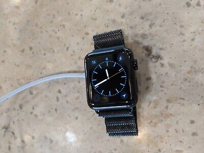 Apple Watch Series 2 42mm Stainless Steel Case Space Black Milanese Loop w GPS