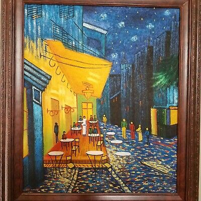 Van Gogh Sidewalk Cafe Terrace at Night Framed Oil Canvas Reproduction 20x24 in
