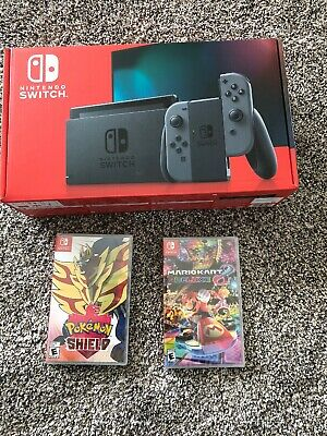 Brand New Nintendo Switch Console with Mario kart 8 Deluxe & Pokémon shield
