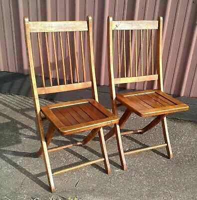 2 Antique Fold Up Wooden Chairs Slat Seats and Spindle Backs 1900s Era