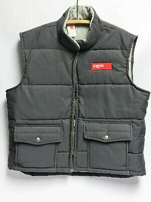 Vintage Exxon 1980's XL Men's Gas Station Winter Vest w/ Patch - Official Jacket