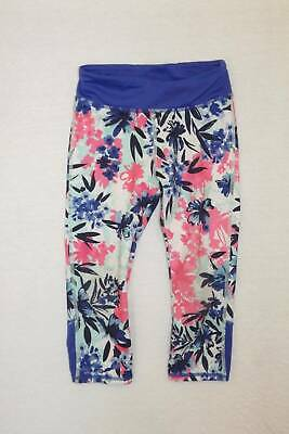 Gymboree gymgo blue pink floral cropped leggings small 5 6 HCB athletic pants