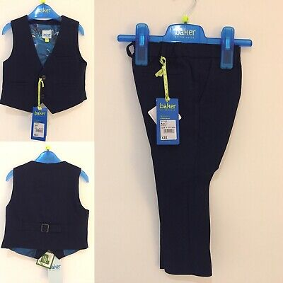 BNWT - Boys Ted Baker 2 Piece Suit - Age 2 - Trousers And Waistcoat Set - Navy