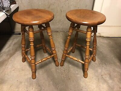 "Tell City Chair Company Solid Hard Rock Maple 24"" Bar Stools (2)"