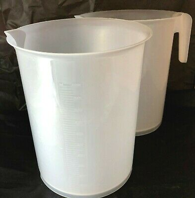 2 Scienceware Plastic Giant Beakers Tall Form 10000mL. 1 with handle