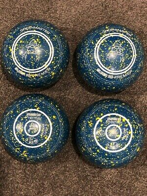 Greenmaster Super 10 Premier Lawn Bowls Size 3H WB24 P/Grip Blue/Yellow Speckles