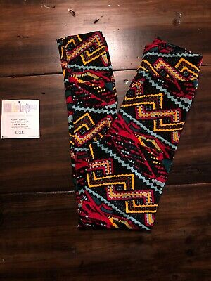 Lularoe Kid's L/XL Kid's Leggings Red Blue Teal Yellow Black Print, cute! NWOT