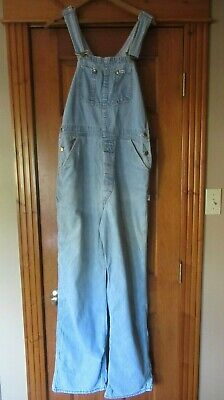 Vintage 1970s Lee USA Bib Jean Denim Overalls Button Fly  Wash Faded 33 x 32