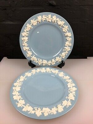 2 x Wedgwood of Etruria Barlaston Embossed Queensware White on Blue Plate 27 cm