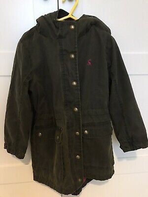 Joules girls waxed pink floral lined hooded winter coat jacket age 5 years