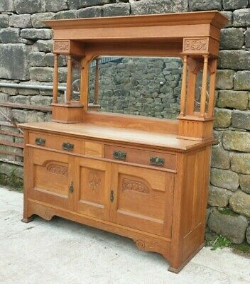 Arts & Crafts Oak Carved Mirror Backed Sideboard Dresser Good Condition