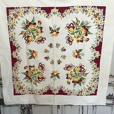 Vintage Tablecloth 1950's Cotton Magenta Yellow Tulips Floral White 45x45 Square