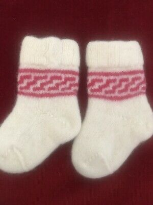 Warm 100% wool knitted and felted socks for baby 0-4