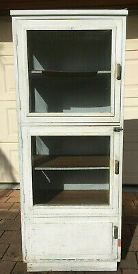 Vintage Meatsafe - 5' Tall, White Over Green, Timber, Steel Mesh