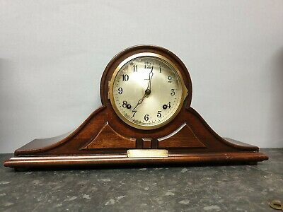 Vintage Wooden Cased 8 Day Mantle Clock with Strike